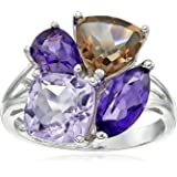 Sterling Silver Smoky Quartz Amethyst and Pink Amethyst Ring, Size 7