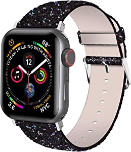 iiteeology Compatible with Apple Watch Band 38mm 40mm 42mm 44mm, Shiny Bling Glitter Leather Band for iWatch SE Series 6/5/4/3/2/1 Women Girls (Black, 38mm)