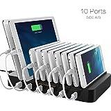 Dock Station di Ricarica FlePow con 10 porte USB e Cavetti Inclusi (design brevettato retrattile) Organizzatore per Smartphone e Tablet, Nero