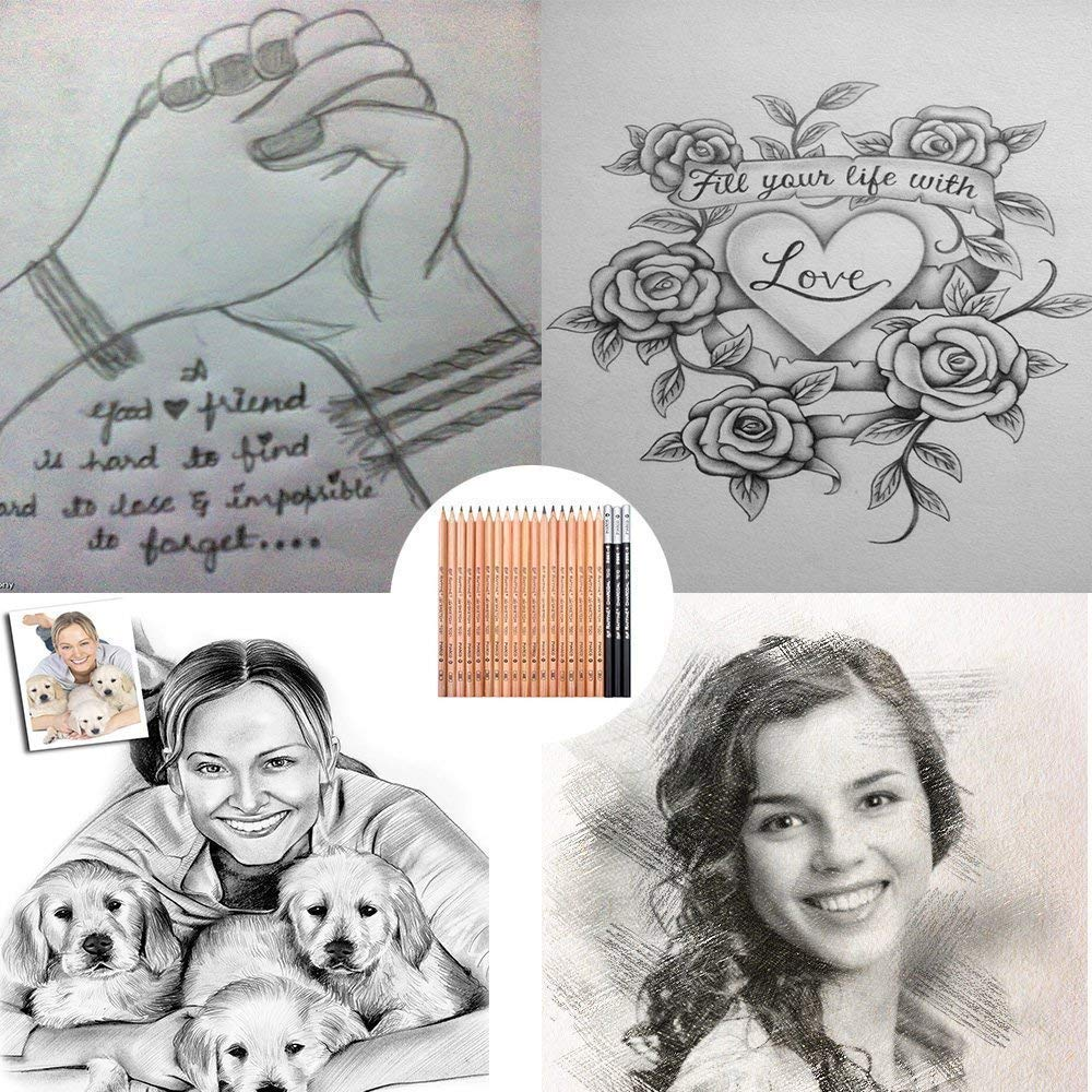 Skizze Bleistift Set, Southstar 29 Stück Skizzierstifte Künstler Art Kit für Skizzen Zeichnen mit Kohlestifte Papierstifte Bleistifthalter Radier im Canvas Beutel für Kinder Erwachsene