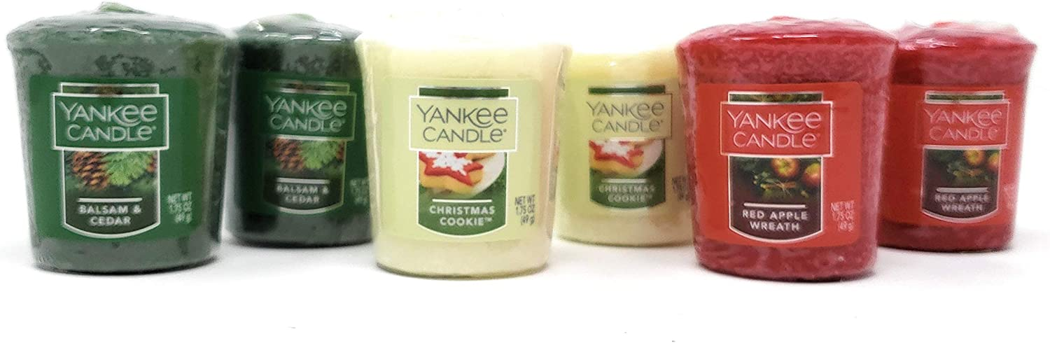 Yankee Candle Holiday Scented Votive Candles - Balsam & Cedar, Christmas Cookie, Red Apple Wreath - Bundle Set of 6
