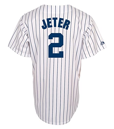 5005a8c1081 MLB Men s New York Yankees Derek Jeter White Navy Pinstrps Home Short  Sleeve 6 Button