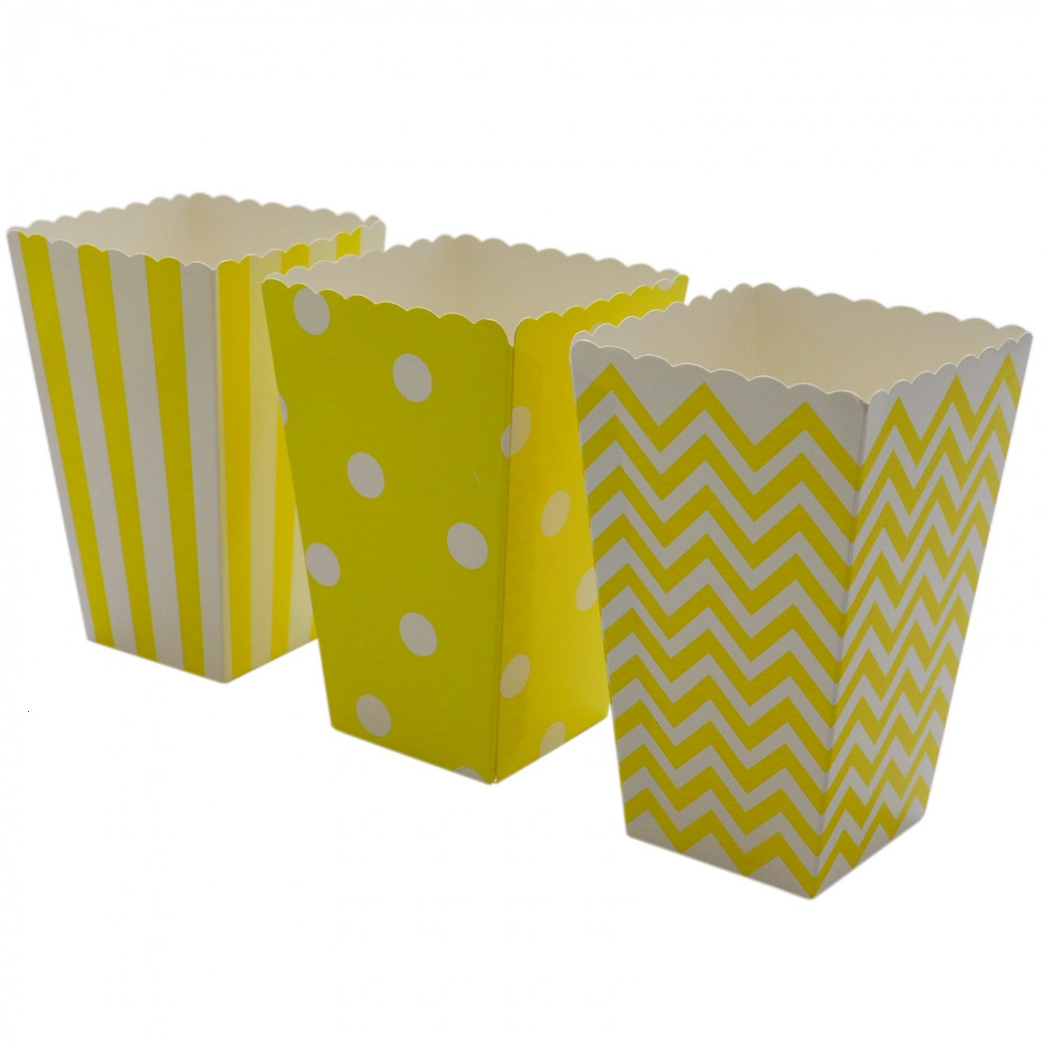 HUELE 48 Pcs Yellow Popcorn Boxes Container Striped Polka Dots for Carnival Party Favor Movie