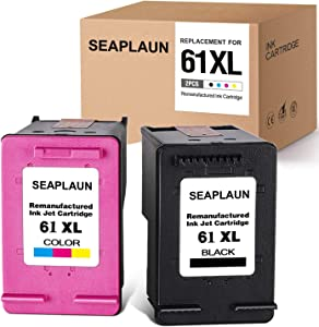 2 Pack Remanufactured Ink Cartridge Replacement for HP 61XL 61 Envy 4500 5531 5530 Deskjet 1000 1056 1510 1512 1055 1010 3050A 1056 3510 2540 OfficeJet 4635 4630