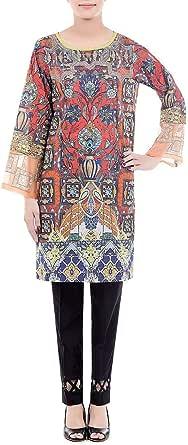 Cross-stitch Orange Cotton Round Neck Blouse For Women