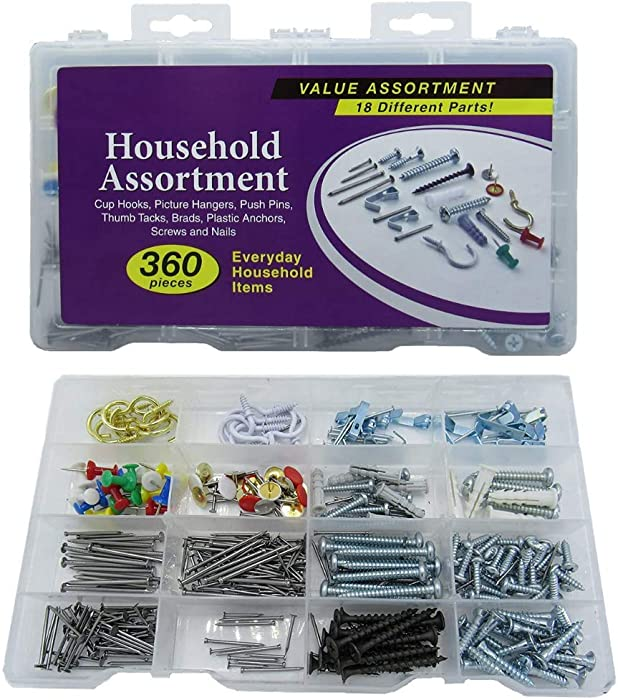 Nick The Fixer Multi-Purpose Value Assortment Kit of Nails, Screws, Picture Hangers, Plastic Anchors, Brads, and Thumb Tacks 360-Piece Set Home Improvement Tools