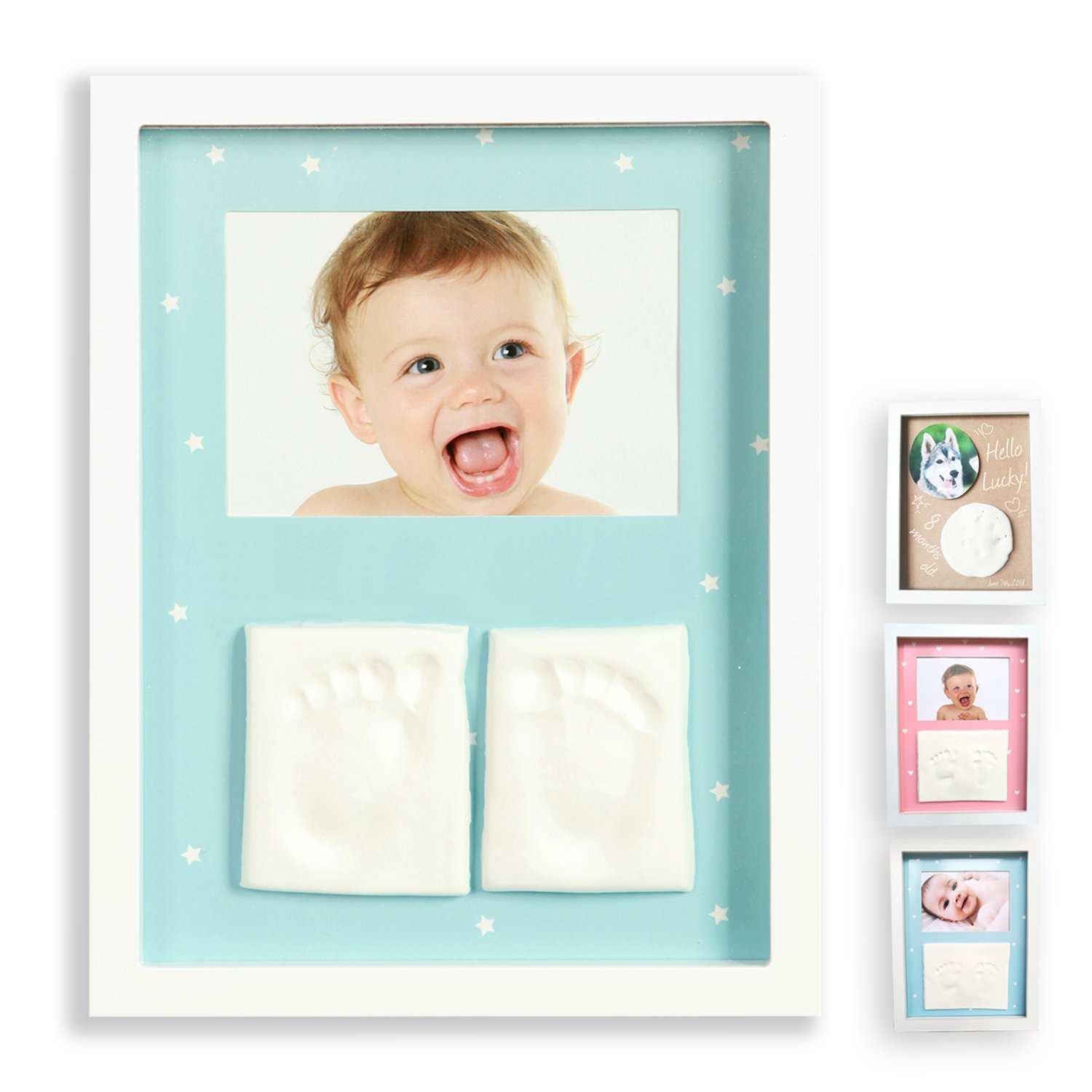 Baby Handprint Kit - Baby Picture Frame, Baby Footprint kit Photo Frame, Perfect for Baby Boy Gifts,Top Baby Girl Gifts, Baby Shower Gifts, Newborn Baby Keepsake Frames