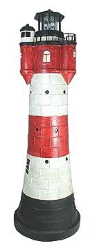 colourliving Leuchtturm Roter Sand groß ca. 80 cm rot weiß rotierender Solar LED Reflektor für den Garten am Teich Dekofigur