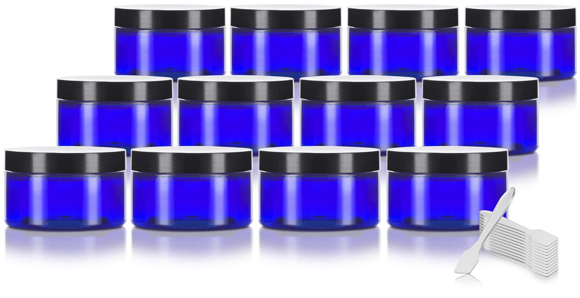 Cobalt Blue 4 oz PET Plastic (BPA Free) Refillable Low Profile Jar (12 pack) + Spatulas by JUVITUS