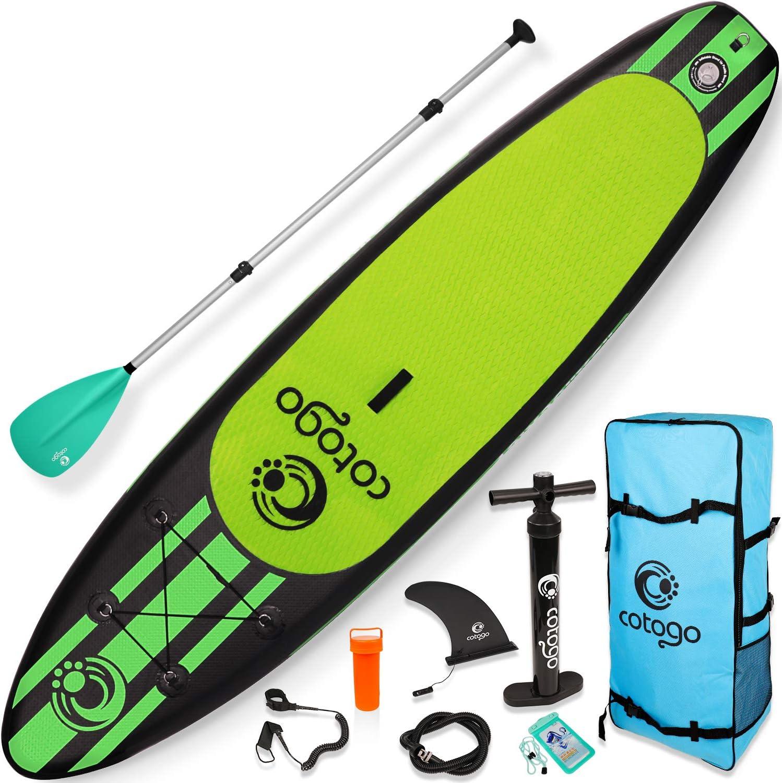 Cotogo Tabla de Surf Hinchable con Bomba Cuerda de Pie Extra/íble Remo Kit de Reparaci/ón Bolsa de Almacenamiento Tabla de Sup para Surf Carreas Pesca Yoga Aleta