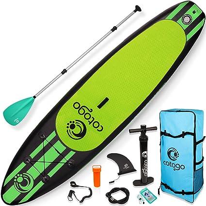 Cotogo Tabla de Surf Hinchable con Bomba, Remo, Aleta, Kit de Reparación, Cuerda de Pie Extraíble, Bolsa de Almacenamiento Tabla de Sup para Surf ...