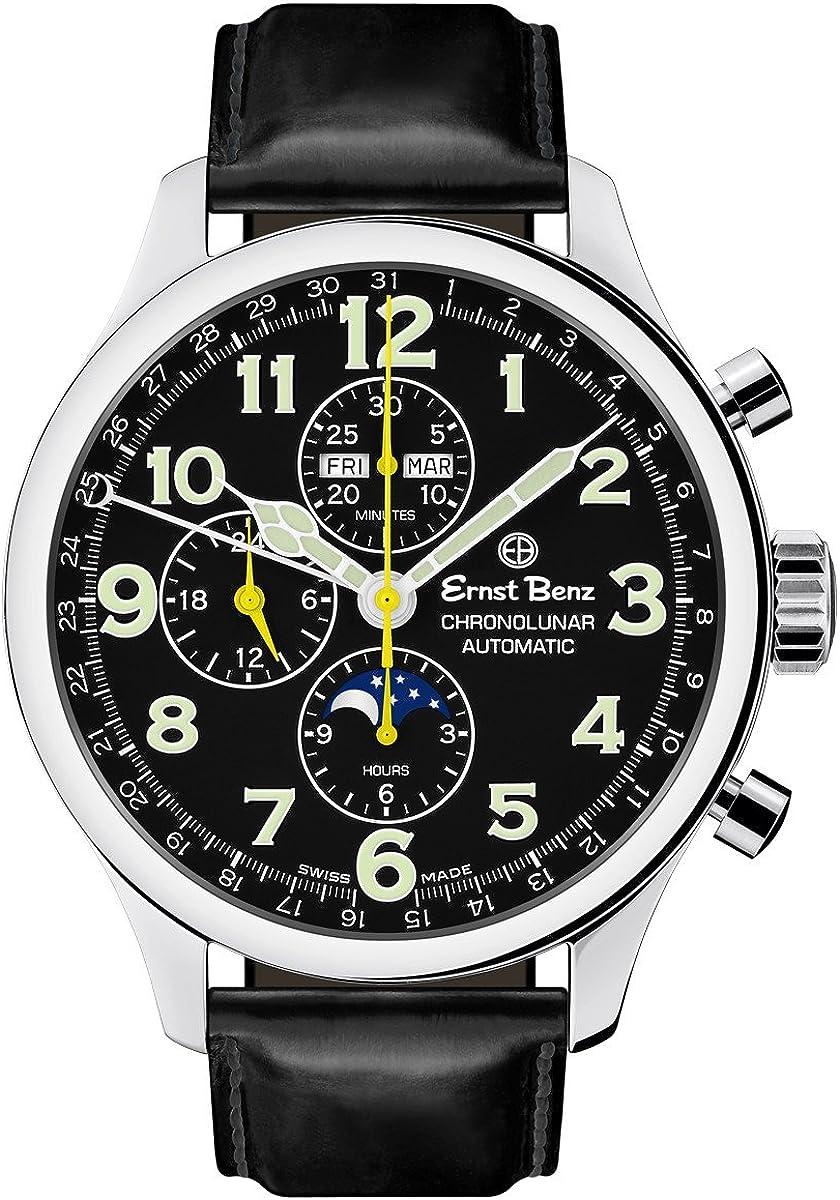 Ernst Benz Chronolunar Automatic Chronograph Moonphase Black Matte Leather Band 47mm Luxury Men's Watch GC10311