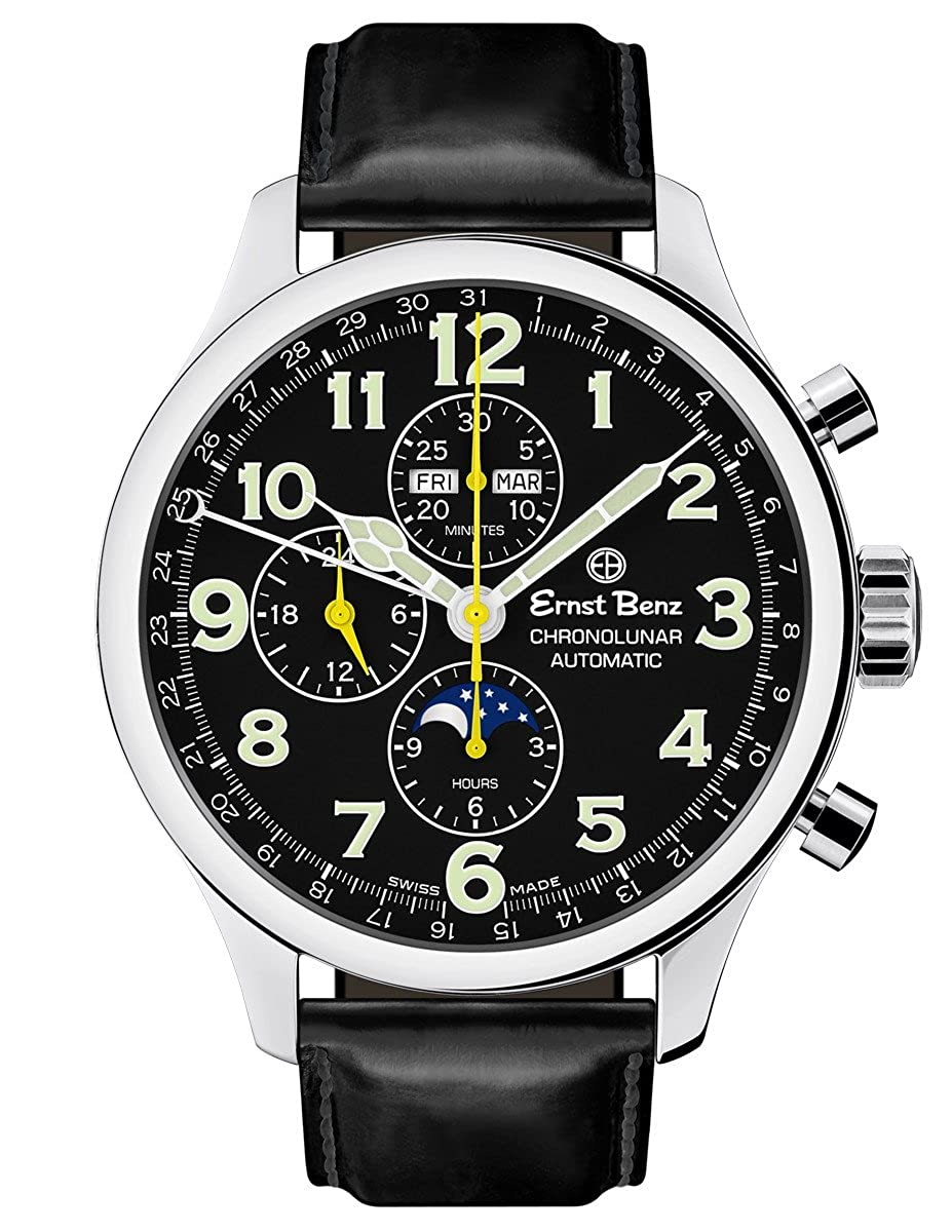 Ernst Benz Chronolunar Automatic Chronograph Moonphase Black Matte Leather Band 47mm Luxury Men's Watch GC10311