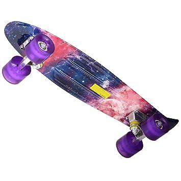 AMDirect Monopatín Skateboard 55CM con 4 Ruedas de PU LED Luces Rodamientos ABEC-9 Tablero con Figuras Multicolor Graffiti Carga MAX 100KG (Tipo 5): ...