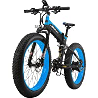 LANKELEISI XT750PLUS1000 26x4.0 Inch Fat Tire Folding Electric Bicycle Shimano 27 Speed Full Suspension Snow Mountain Beach E-bike 1000W Motor,48V 10Ah Lithium Battery,Dual Hydraulic Disc Brake