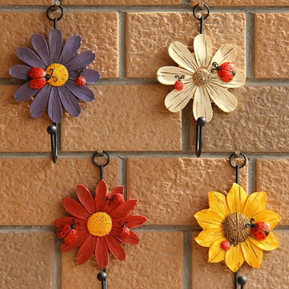 Creative Daisy Resin Wall Hooks Wall Mounted Art Flower Iron Hook Hand-painted Hanging Coat / Hat /Key/ Towel Hooks Home Decoration(Set of 4) by Skyling (Image #6)