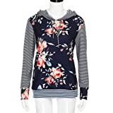 GOVOW Floral Striped Shirts for Women Long Sleeve