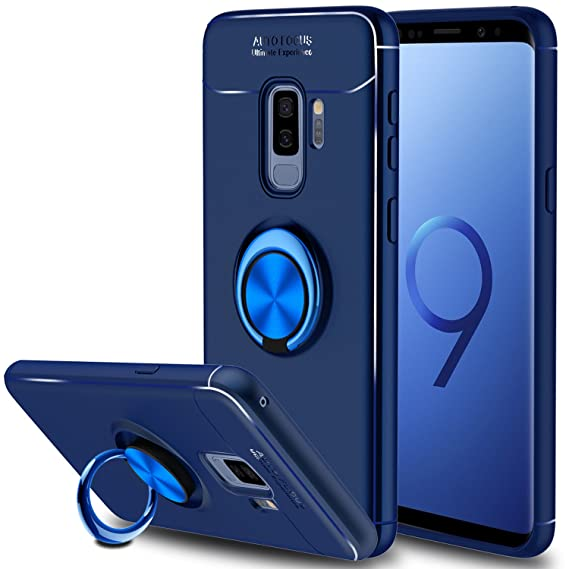 hot sale online 8e0e9 b8728 Galaxy S9 Plus Case, Elegant Choise Hybrid Slim Durable Soft TPU 360 Degree  Rotating Ring Holder Kickstand Protective Case with Magnetic Case Cover ...