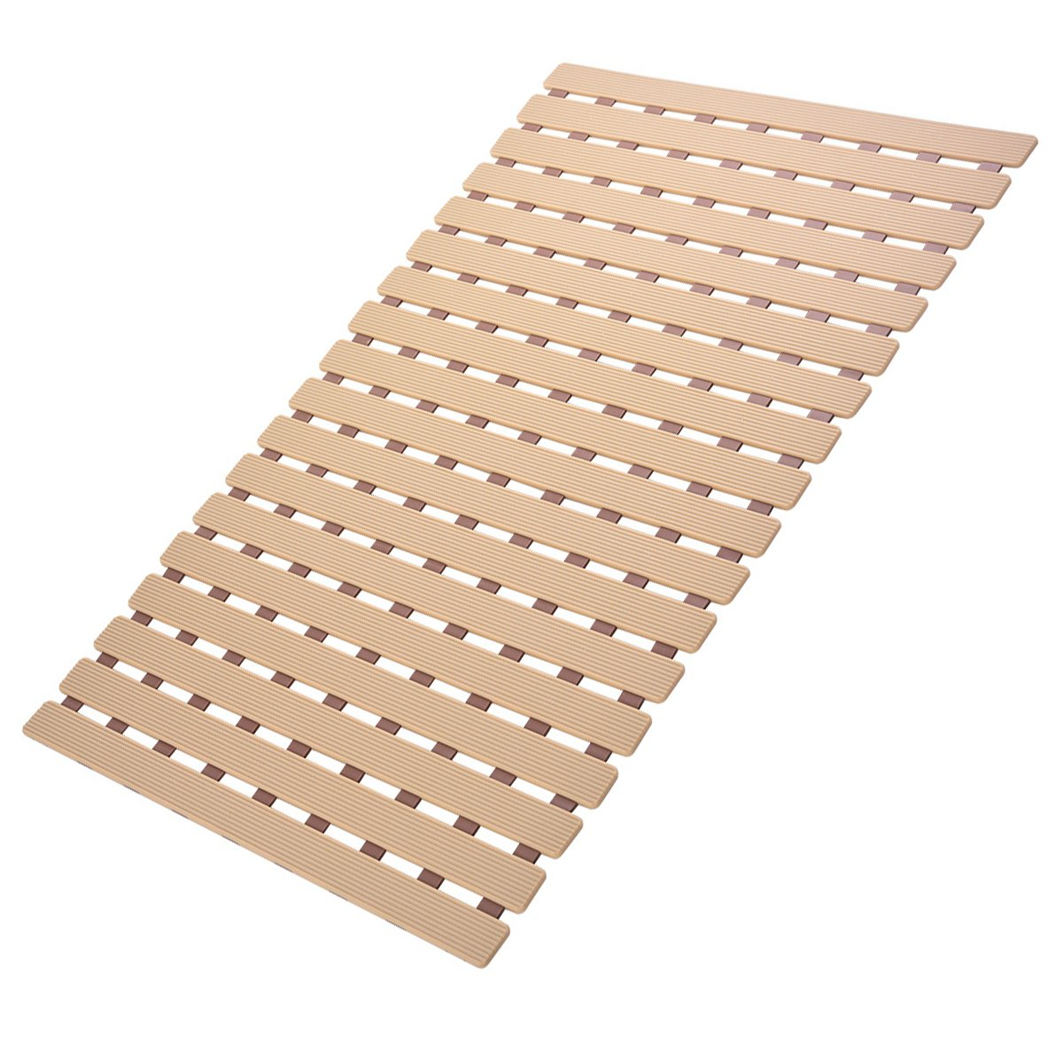 ifrmmy Newest Non Slip Shower Floor Mat with Drain Hole Anti-Slip and Mold Resistant, 24.8'' x 15.7'' (Light Brown)