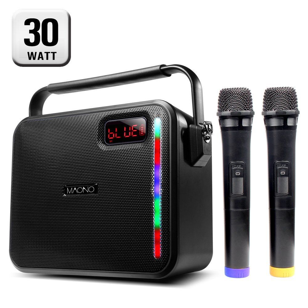 30W PA System, MAONO PK-30 Karaoke Machine with Two Wireless Handheld Microphones, LED Bar for Adults Kids (Black) by MAONO (Image #1)