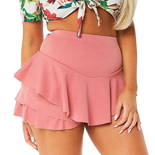 e93f91c4aeb98 iYYVV Womens Layered Ruffled Pleated Skorts High Waisted Mini Scooter  Shorts Skirt