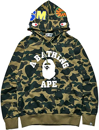 New Bathing Ape BAPE Camouflag Shark Head Hoodie Full Zip Jacket Sweatshirt coat