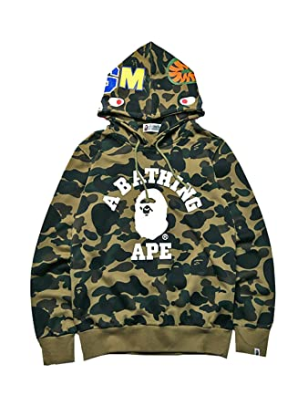 e8970c35 Amazon.com: Miranda Mens Ape Bape Hoodies Sweatshirt Fashion Casual Coat  Outdoor Hip-Hop Funny Tops: Clothing