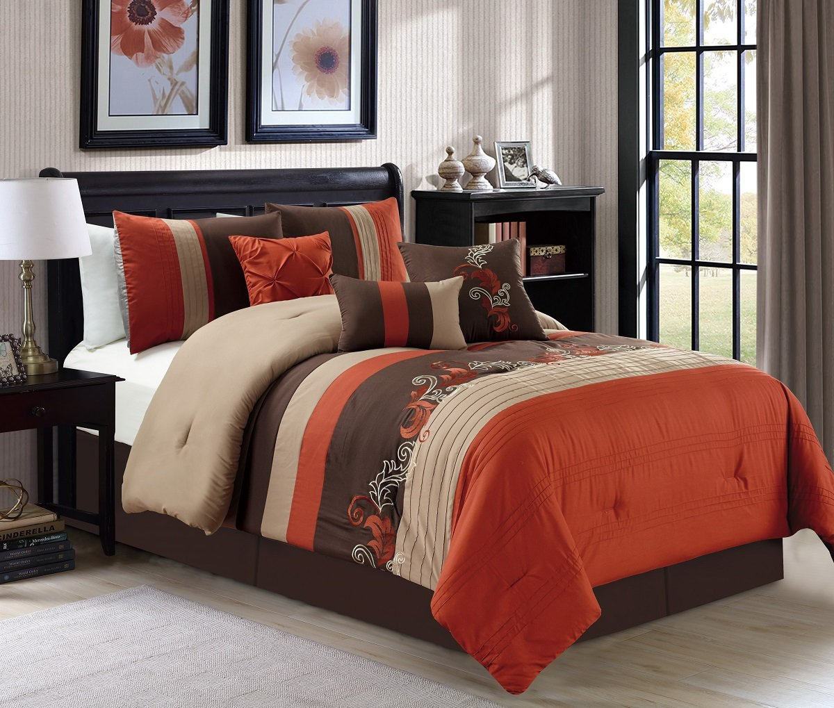 Embroidery Bedding Comforter Set Full, Rust Orange/Taupe/Brown