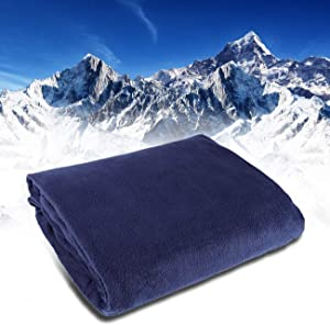 Rxmoto 12V Car Truck Heated Blanket Electric Fleece Travel Heating Seat Blanket Throw Automotive Vehicle Road Travel Trip RV Soft Polar Fleece Winter Cold Weather- Anti-Flammable (Navy Blue)