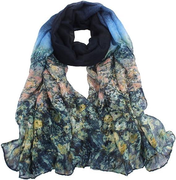 Lady Women/'s Fashion Bleu Long Big Coton Doux voile écharpe châle Wrap