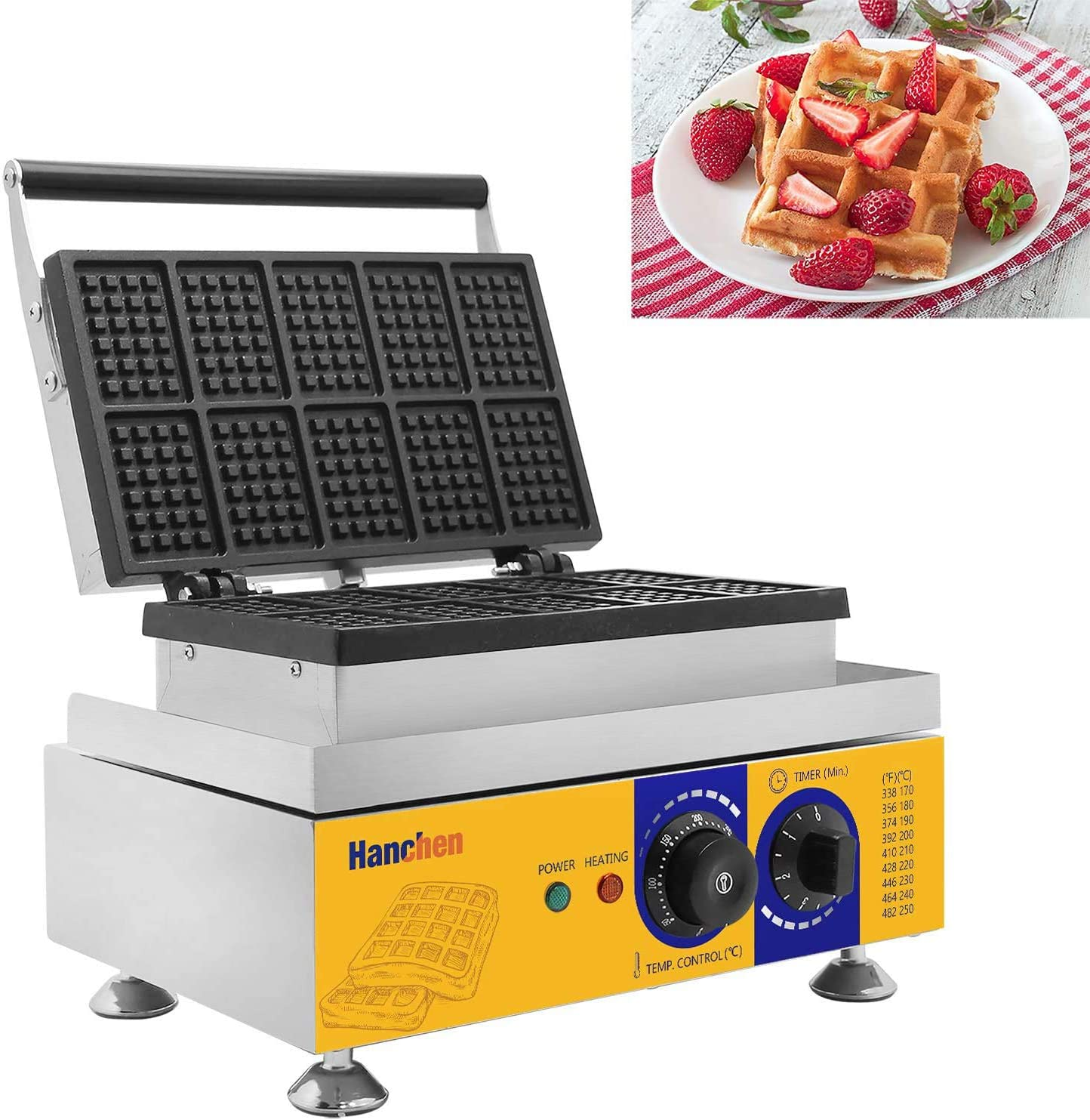 Commercial Electric Two Plates Waffle Baker Stainless Steel Non-stick 2000W 240V