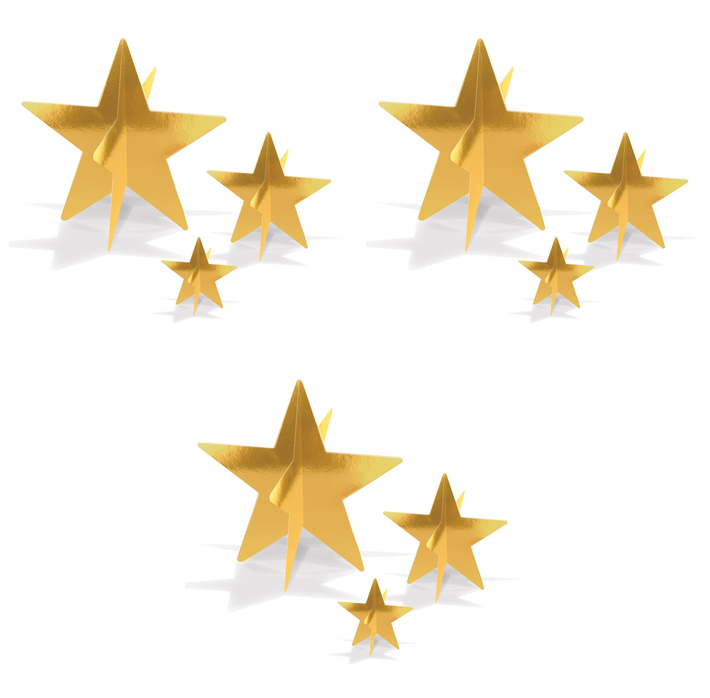 Beistle 52148-GD, 9 Piece 3-D Foil Star Centerpieces, 3'' - 8'' (Gold)