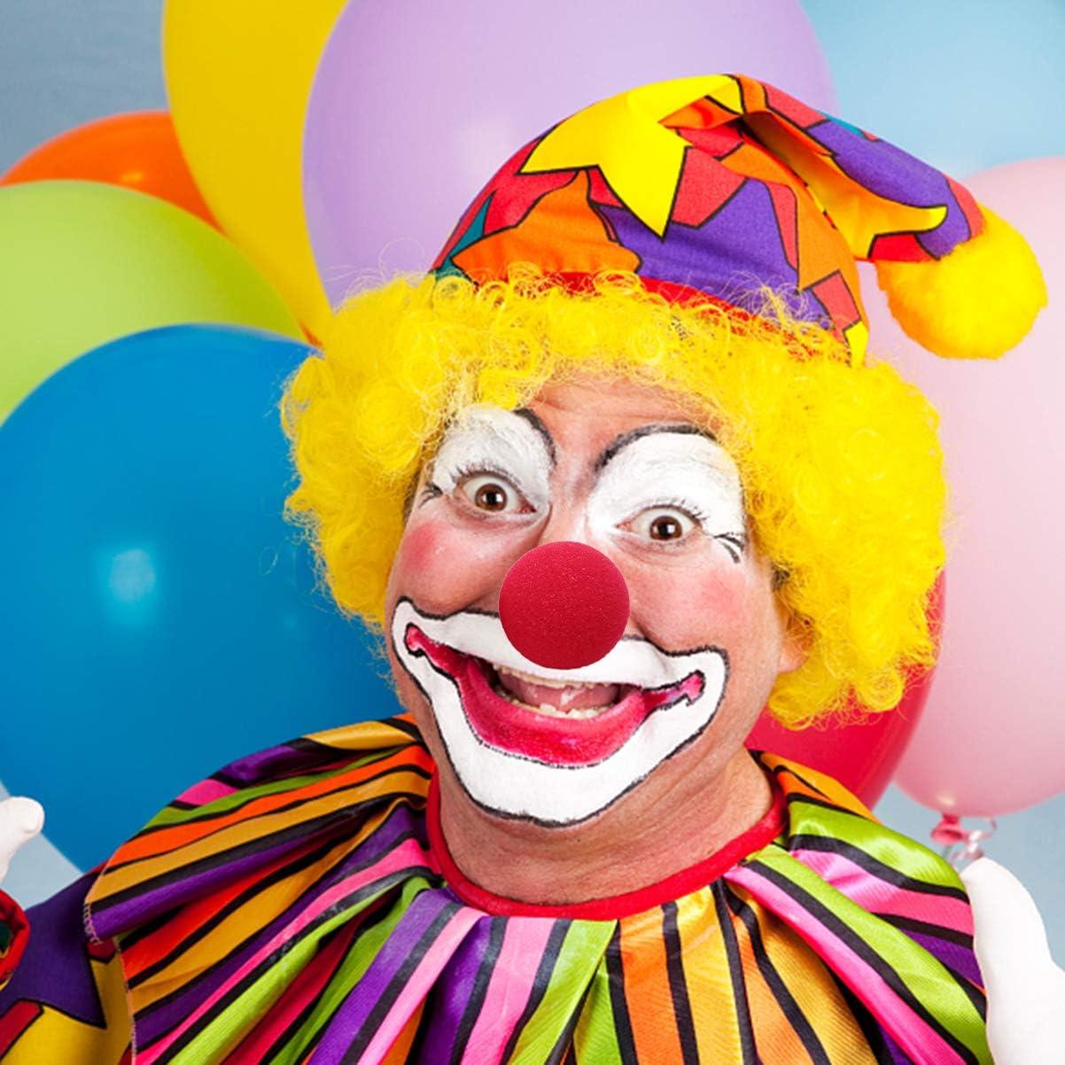 NUOBESTY 20 Piezas Fiesta de Disfraces de Nariz de Payaso Disfraz de Cosplay Nariz Roja Accesorios de Decoraci/ón de Halloween 50Mm Color Aleatorio