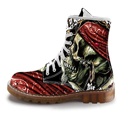 FIRST DANCE Fashion Skull Print Boots for Men Casual High Top Combat Motorcycle Boots for Man Plus Size Shoes Black Outdoor Sneakers | Snow Boots