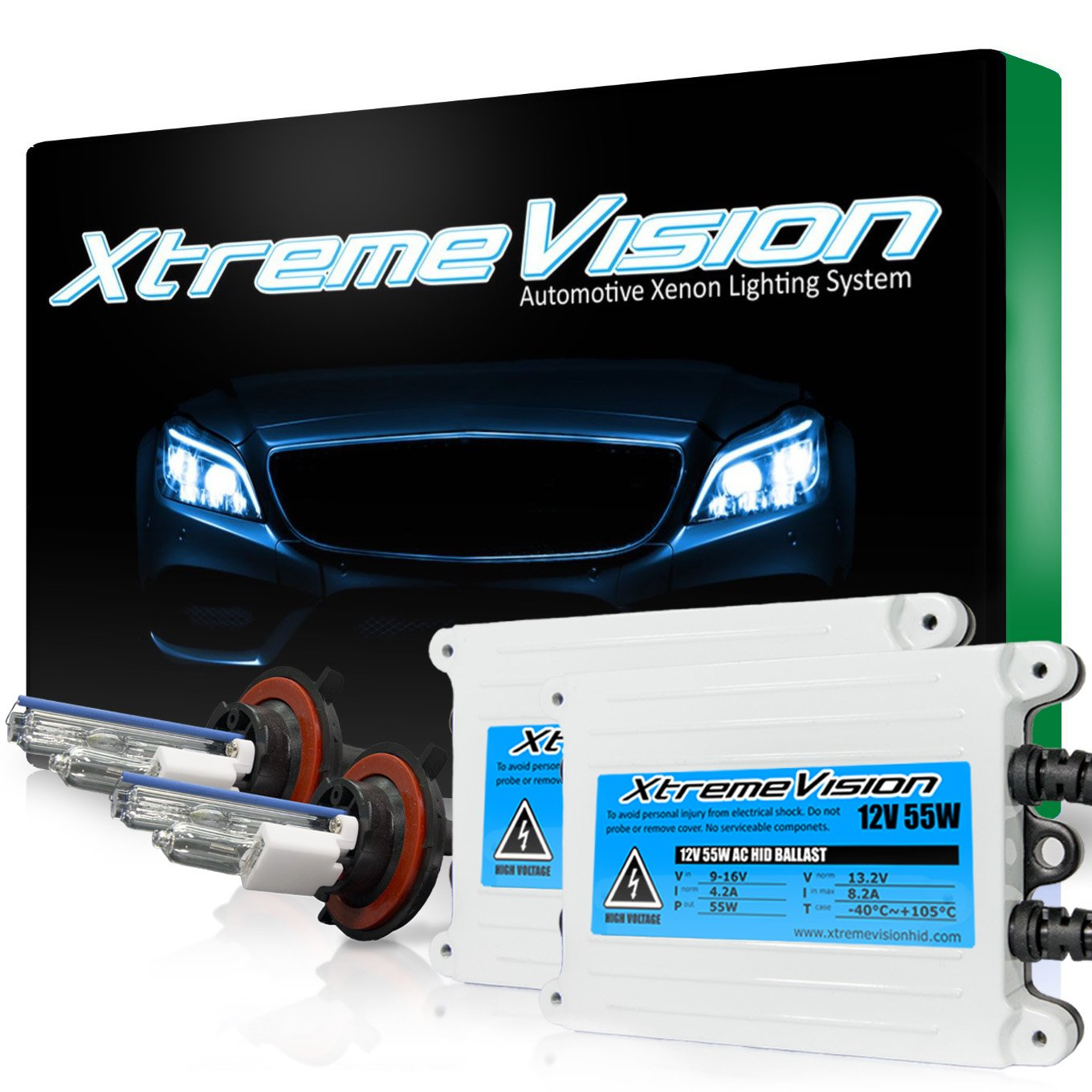 XtremeVision 55W AC Xenon HID Lights with Premium Slim AC Ballast - H13 / 9008 30000K - 30K Deep Blue - 2 Year Warranty