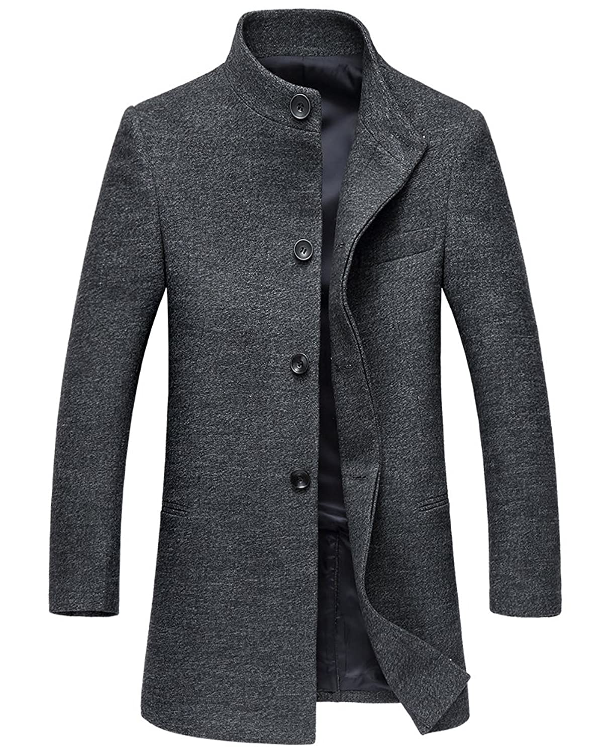 SK Studio Men's Winter Coat Long Jacket Single Breasted Overcoat