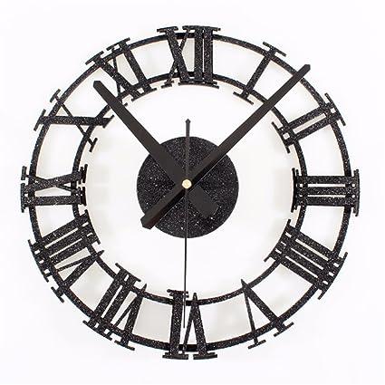 EXDJ Retro wood texture Mute clock Creative Roman digital DIY wall Clock,B