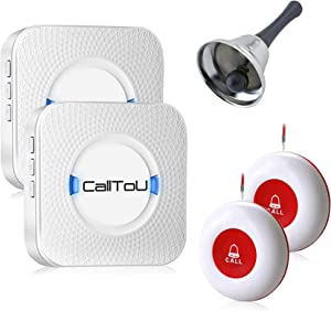 CallToU Wireless Caregiver Pager Smart Call System 2 SOS Call Buttons/Transmitters 2 Receivers/1 Steel Hand Bell Nurse Patient Help for Home/Personal Attention Pager Receiver Alert