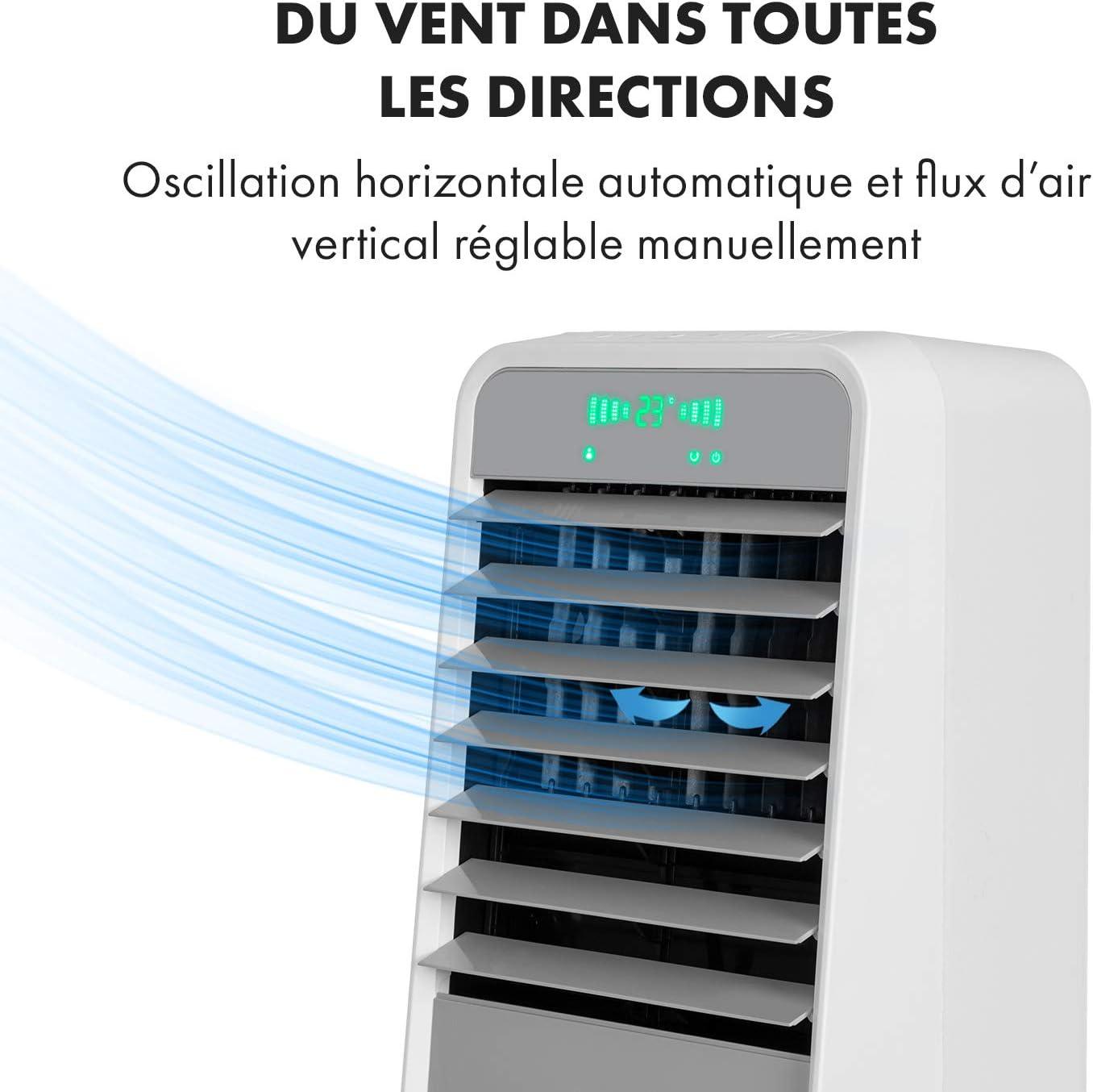 4 Modes: Normal//Naturel//Nuit//Intelligent KLARSTEIN Townhouse 396 m/³//h 4 Vitesses Ventilateur Minuterie jusqu/à 8 h 110W Rafraichisseur dair 3-en-1 : humidificateur Gris Refroidisseur