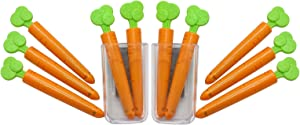 Toy Refrigerator Magnets, Children Teaching aids, Cute Decorative Food Sealing Clips, Super Strong Magnet with Stickers for Kitchen Organization and Storage (10Pcs Carrot Clip and 2Pcs Magnet Box)