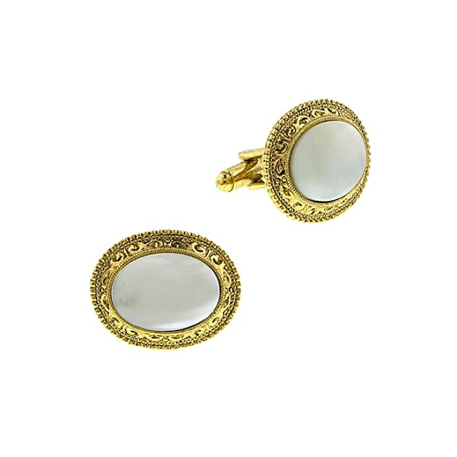 Victorian Men's Formal Wear, Wedding Tuxedo Mother of Pearl Oval Cuff Links $38.00 AT vintagedancer.com