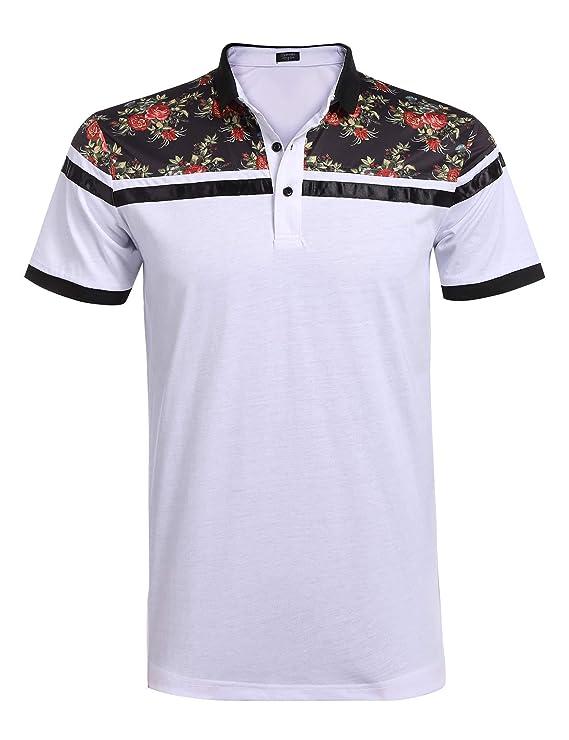a23704f855 Camisa Polo slim fit con mangas cortas y parte superior en estampado de  flores. Disponible en blanco