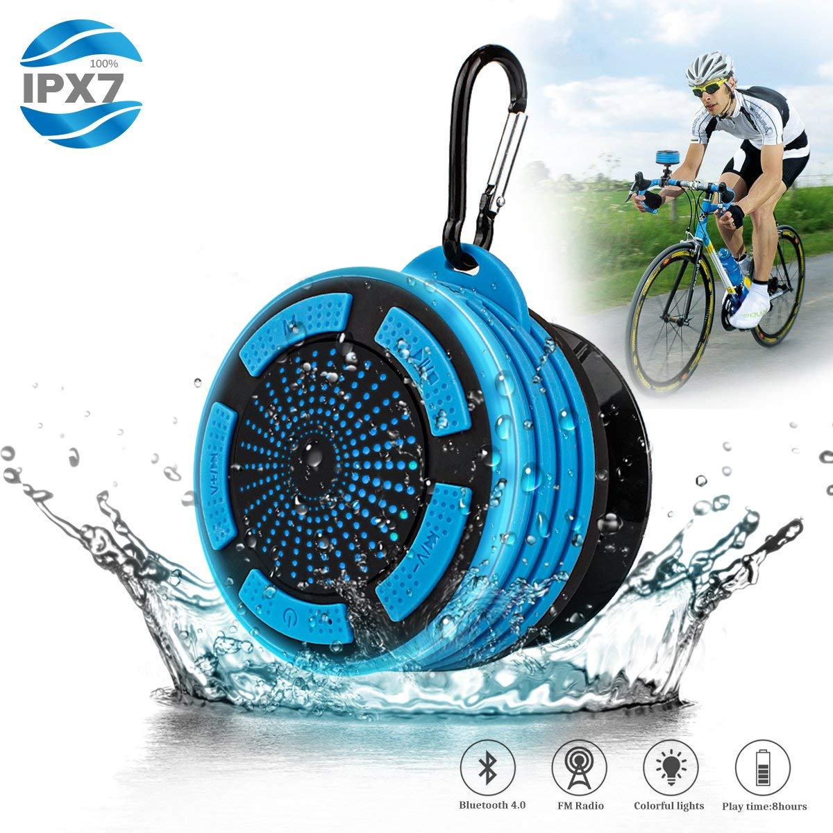 Bluetooth Shower Speaker Waterpoof Shower Radios, Wireless Bathroom Speaker with FM Radios, LED Mood Light, Suction Cup, Portable Speaker for Shower Kids Home Outdoor Beach Pool Hot Tub DGnight