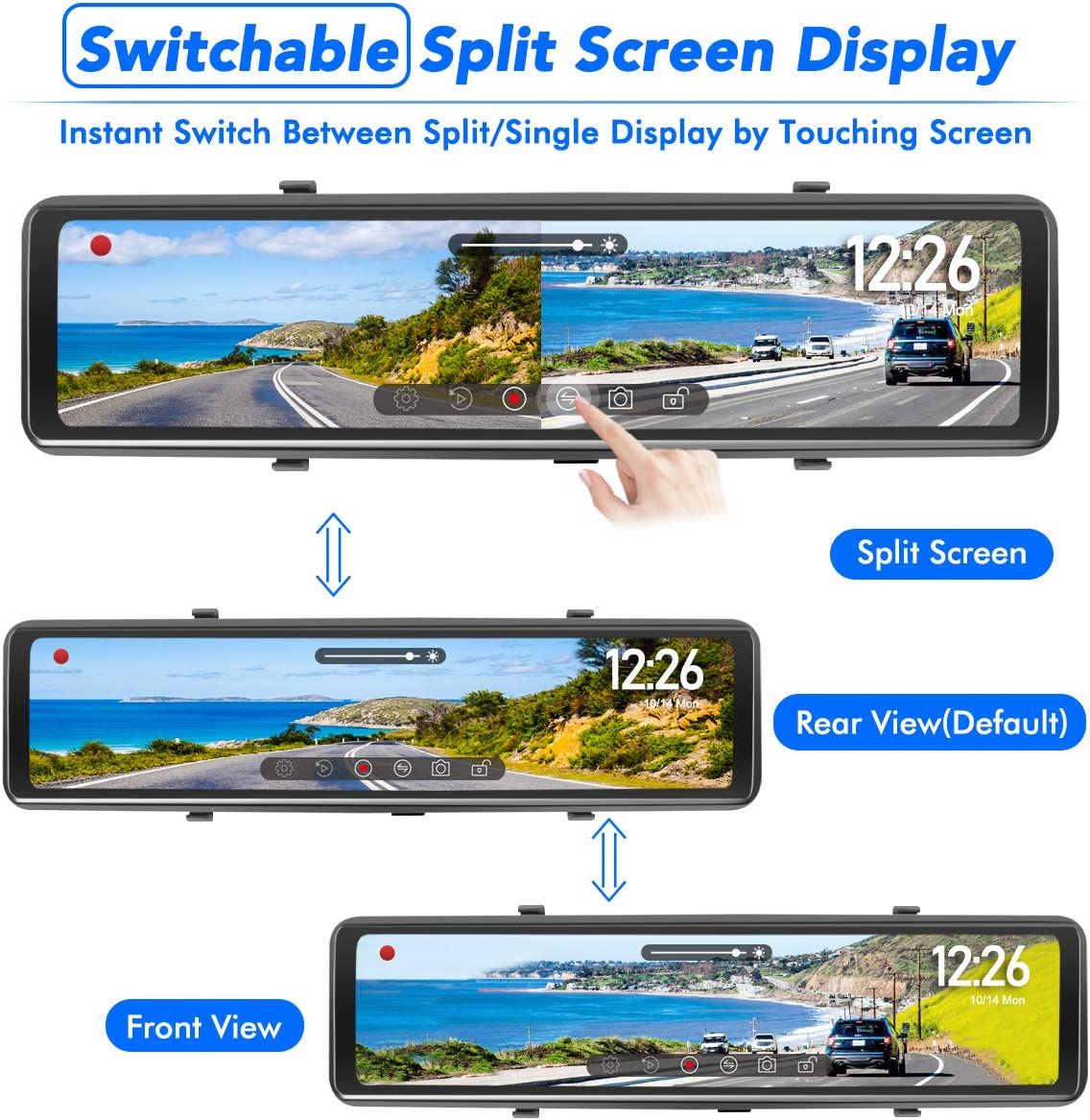 SD Card PORMIDO Mirror Dash Cam-Backup Camera 12Large Full Touch Split Screen Front and Rear View Camera 1296P HD Waterproof Back up Car Camera 170/° Wide Angle,Starlight Night Vision,Parking Monitor