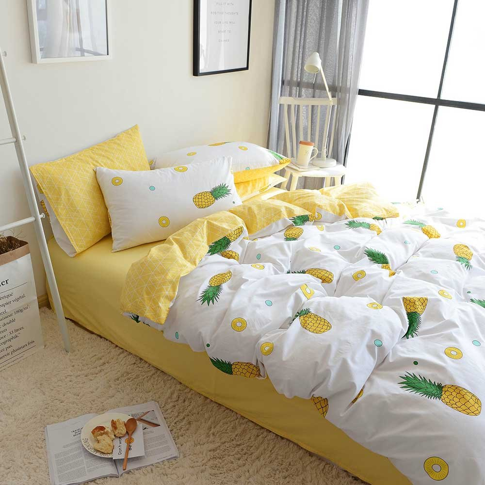ORoa Bedding Sets Twin 3 Piece Kids Girls Fruit Pie Yellow Pineapple Print 100 Cotton Luxury Soft Duvet Cover Twin with Pillowcases Best Bedding Children Teen Twin, Pineapple, No Comforter by ORoa (Image #3)