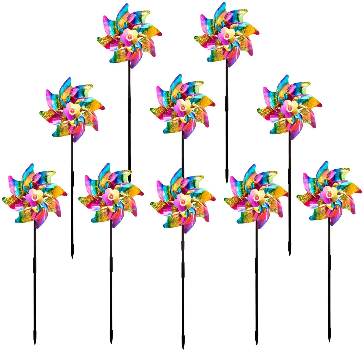 Sparkly Holographic Rainbow Pinwheel Reflective Colorful Whirl Pinwheels Spinners Windmill Bright Blended Rainbow Design DIY Set for Kids Adult Garden Orchard Lawn Farm Beach Decor (Set of 10)