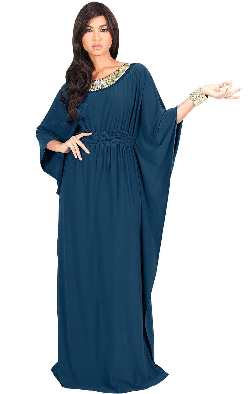 4646fe81cf8 Amazon.com  KOH KOH Womens Long Kaftan Flowy Casual Abaya Summer Evening  Gown Maxi Dress  Clothing