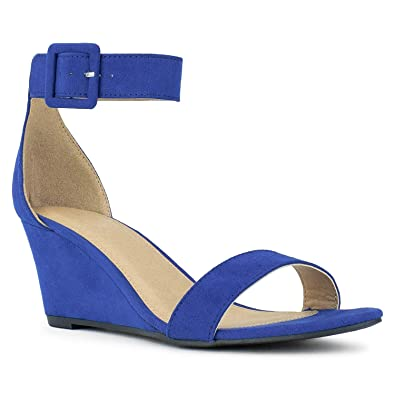 5cf8fa82c59 RF ROOM OF FASHION Women's Ankle Strap Mid Heel Wedge Sandals Cobalt Blue  Size.6