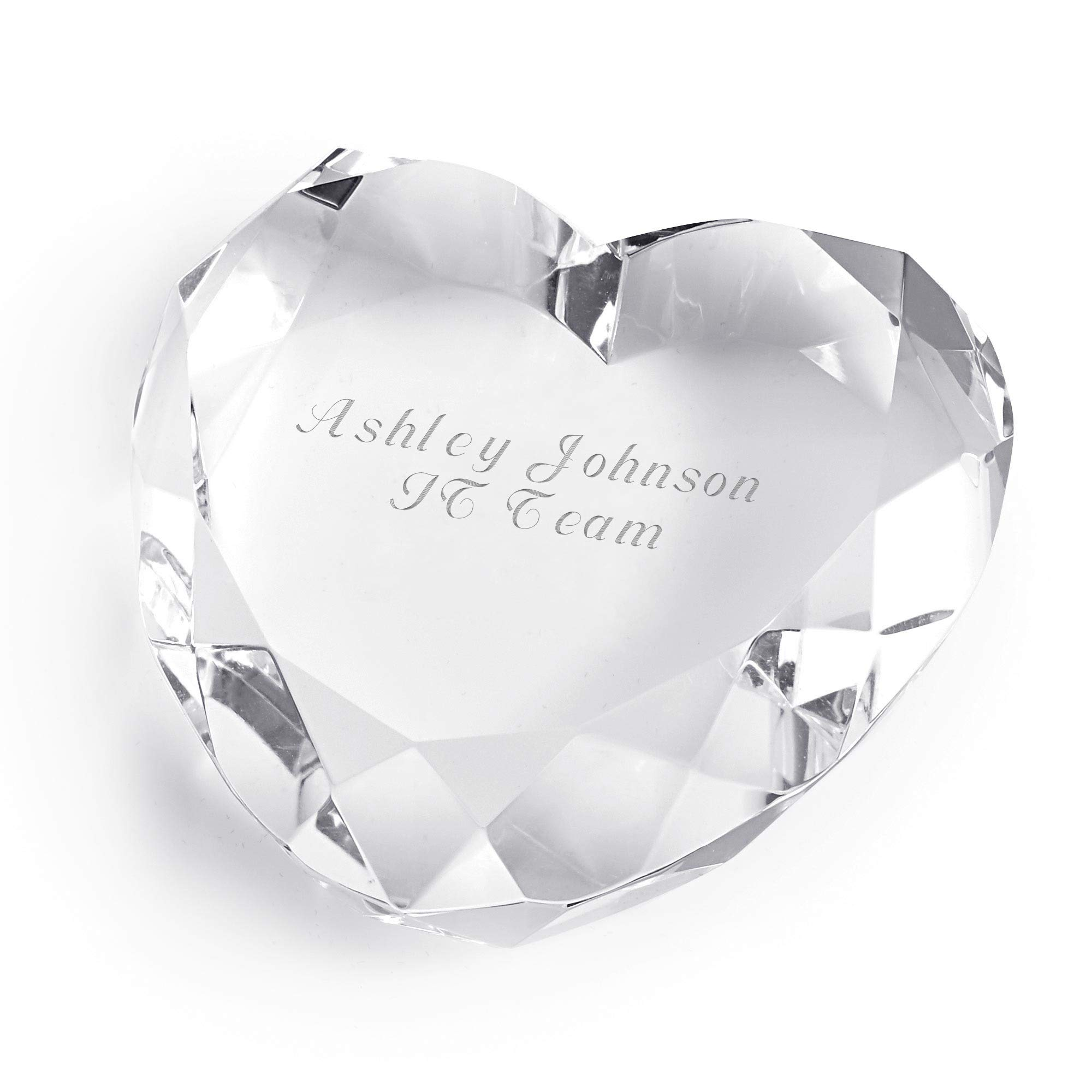 Things Remembered Personalized Clear Crystal Heart Shaped Paperweight with Engraving Included by Things Remembered