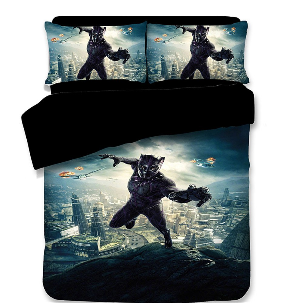 Jameswish 3D Black Panther Printed Duvet Cover Marvel Heroes Pattern Kids Bed Linen Heavy-Duty Microsoft Comfortable 1Duvet Cover 2Pillowshams Washable Machine King Queen Full Twin Size